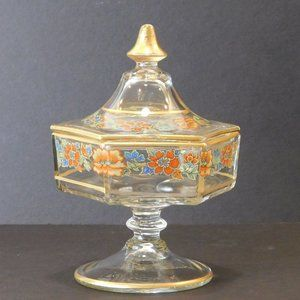 Vintage Glass Dish with Lid Gold Floral